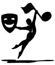 Leaping man clipart holding drama mask and music note